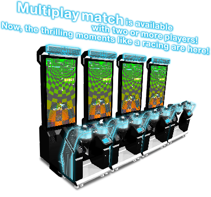 Multiplay match is available with two ore more players! Now, the thrilling moments like a racing are here!